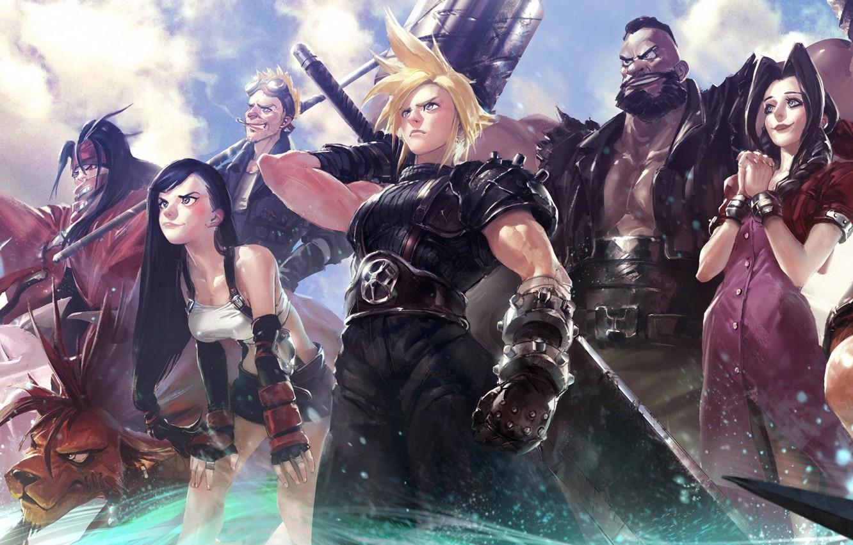 Photo wallpaper sword, game, Final Fantasy, sky, nothing, cloud, cat, ken, blade, warrior, japanese, Cloud Strife, protector, …