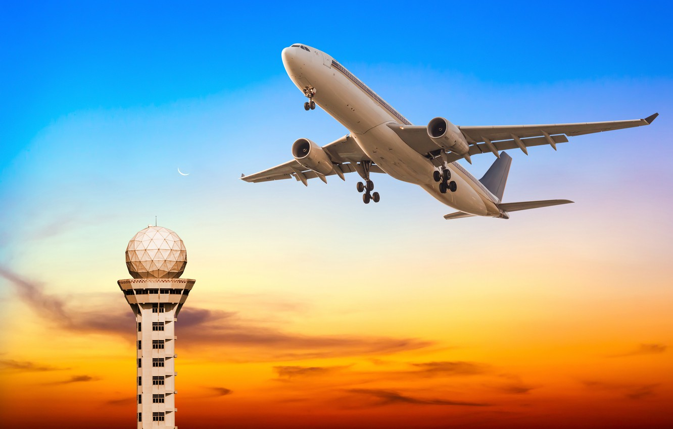 Photo wallpaper the sky, tower, glow, flight, the plane, the rise, passenger
