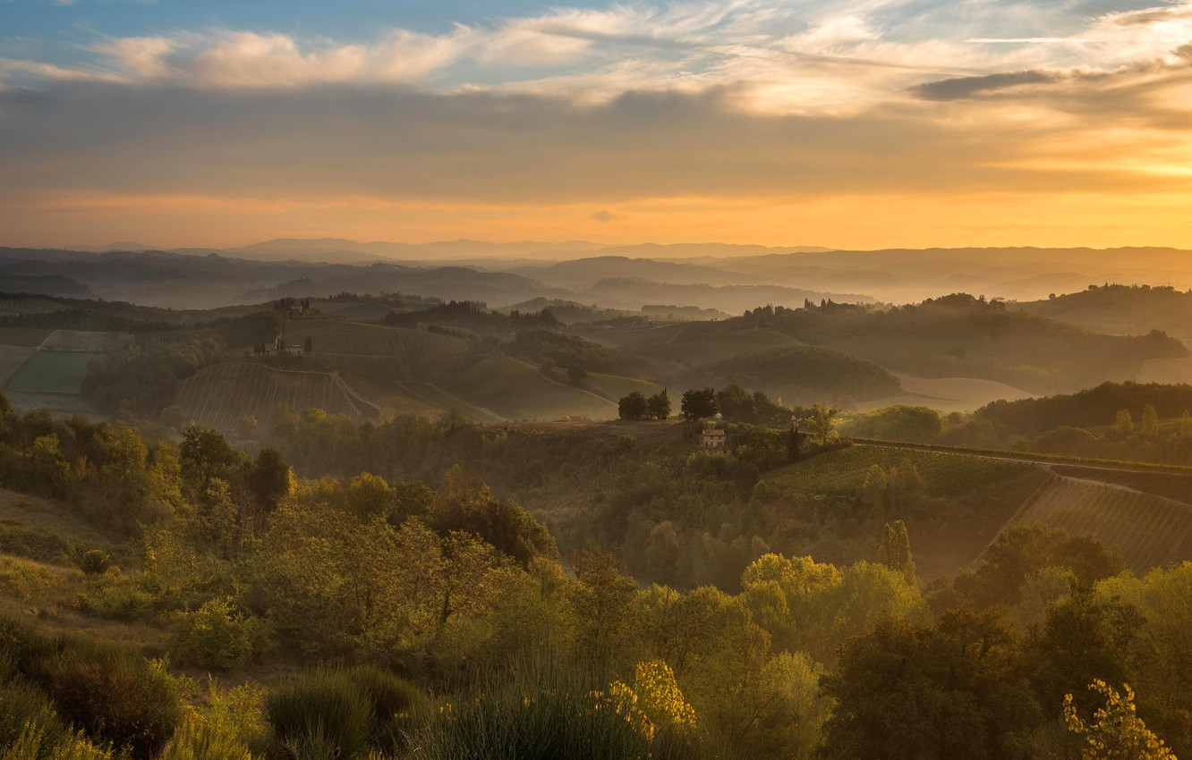 Photo wallpaper the sky, clouds, trees, fog, hills, vegetation, field, dal, morning, space, Italy, haze, the bushes, ...