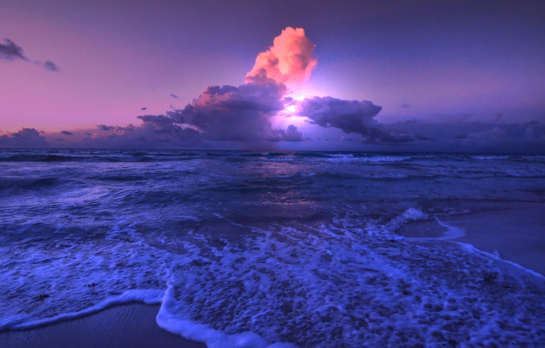 Photo wallpaper sea, clouds, shore, glow