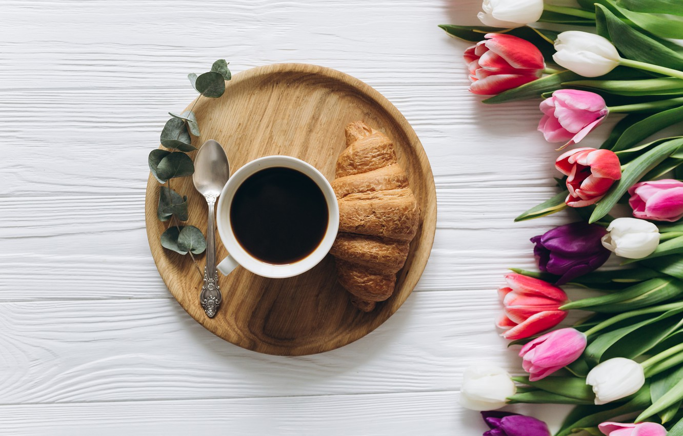 Photo wallpaper flowers, coffee, Breakfast, Cup, tulips, pink, white, heart, wood, pink, flowers, cup, romantic, tulips, coffee, …