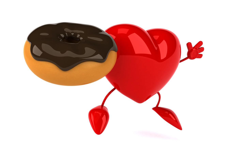 Photo wallpaper heart, donut, heart, funny, rendering, donut