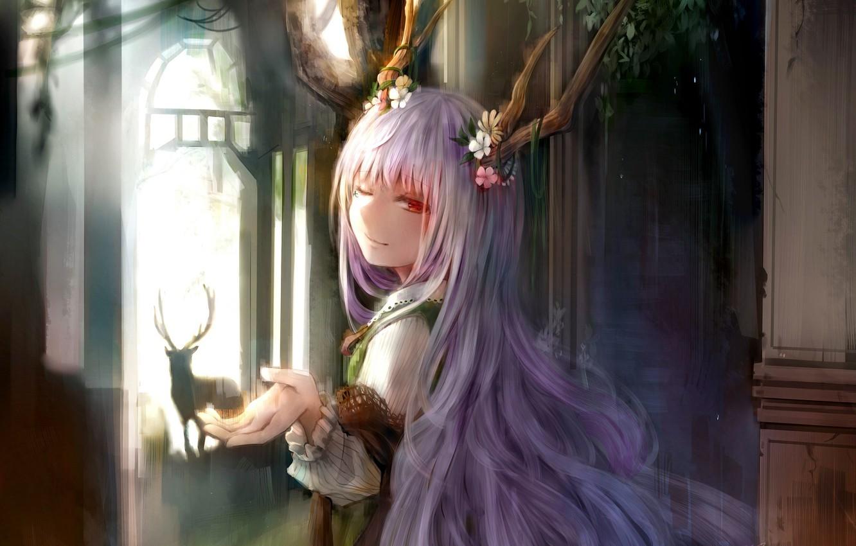 Photo wallpaper girl, anime, deer, art, horns