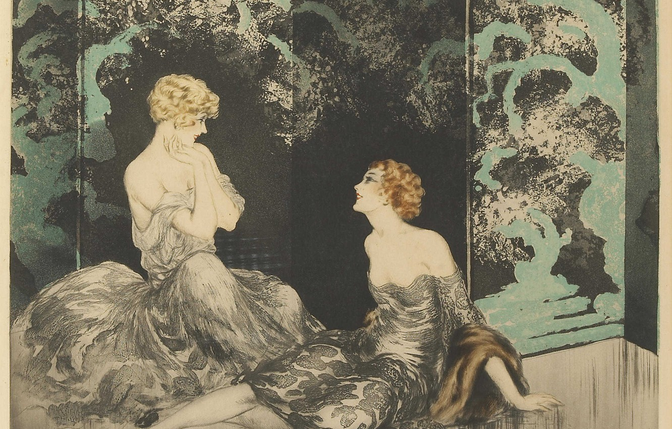 Photo wallpaper 1928, Louis Icart, The proximity, blonde and redhead