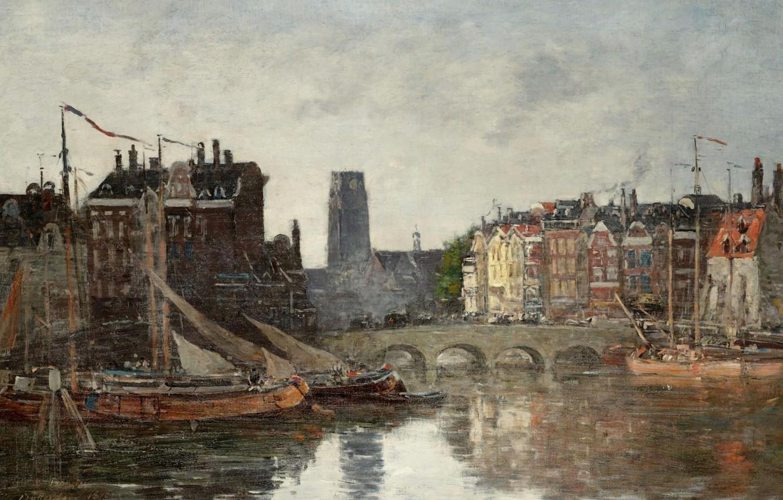 Photo wallpaper home, picture, the urban landscape, Eugene Boudin, Eugene Boudin, Rotterdam. Bridge Exchange