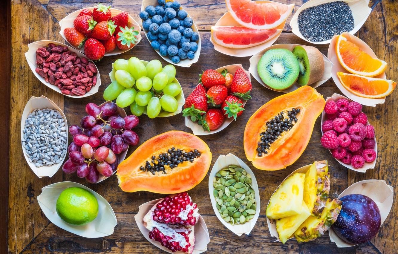 Photo wallpaper berries, raspberry, background, tree, orange, kiwi, strawberry, grapes, lime, fruit, pineapple, vitamins, grapefruit, slices, garnet, ...