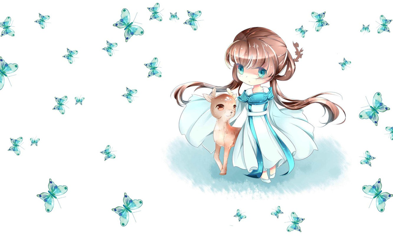 Photo wallpaper butterfly, anime, deer, art, girl, baby, children's
