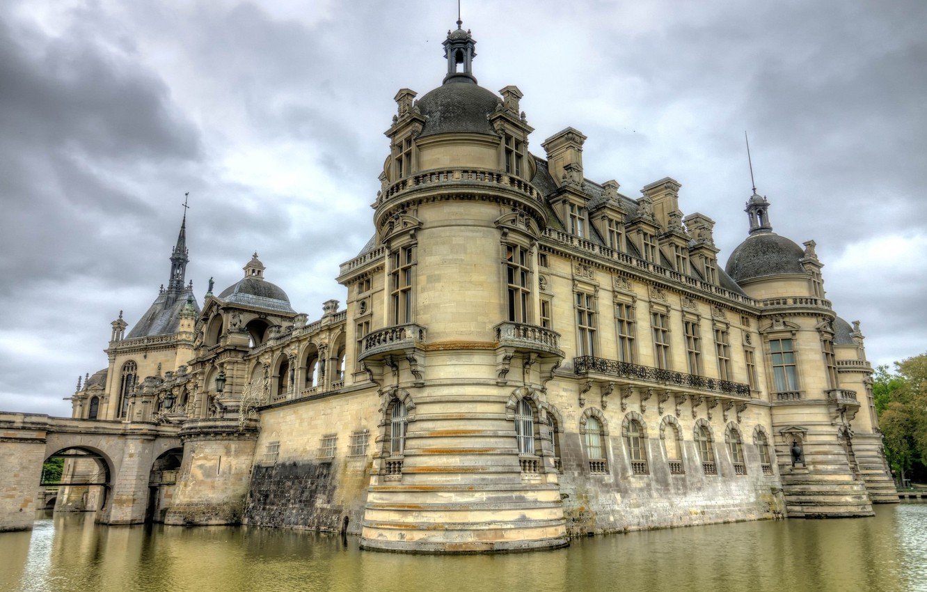 Photo wallpaper lake, castle, France, Chateau de Chantilly