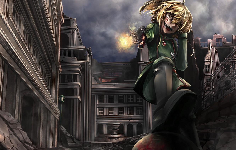 Photo wallpaper girl, gun, blood, pistol, soldier, military, weapon, war, anime, fight, blonde, asian, manga, gloves, pearls, …