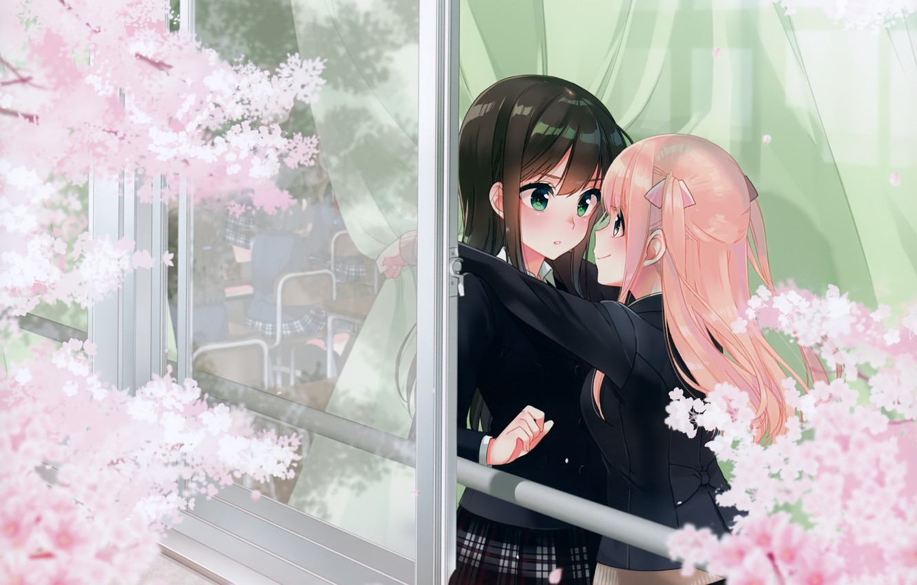 Photo wallpaper spring, window, class, Schoolgirls, friend, embarrassment, flowering in the spring, the branches of a tree, …