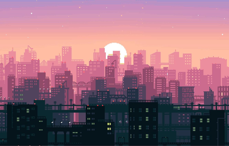 Wallpaper Sunset The Sun Music The City Pixels Synthpop 8bit