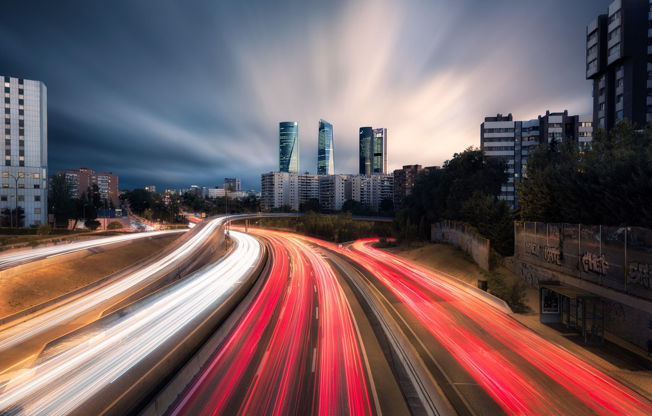 Photo wallpaper road, light, the city, the evening, excerpt, Spain, Madrid