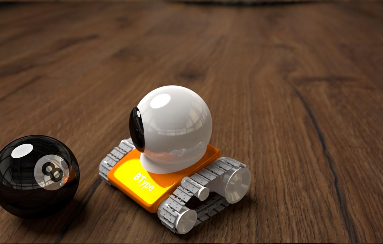 Photo wallpaper Robot, Caterpillar, Billiard ball