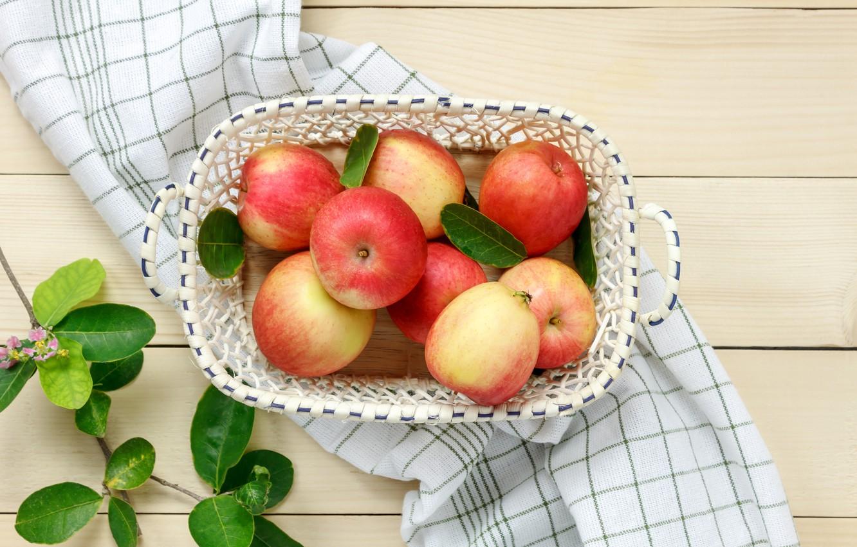 Photo wallpaper leaves, branches, basket, apples, fruit