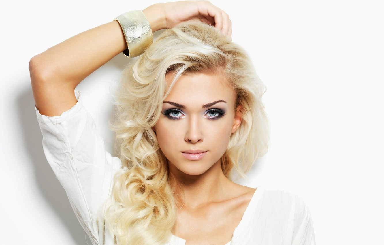 Photo wallpaper blue eyes, blonde, looking, Make-up