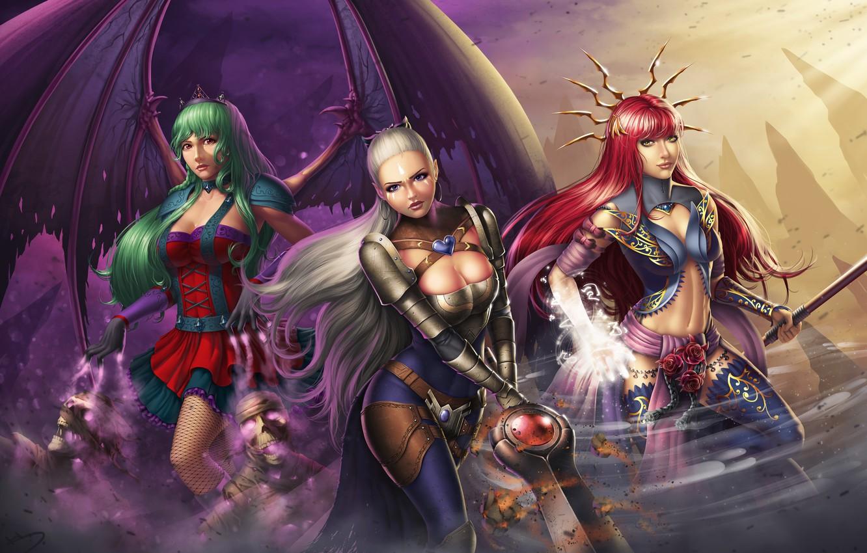 Photo wallpaper girl, wings, sword, dress, warrior, art, MAG, vampire, red, witch