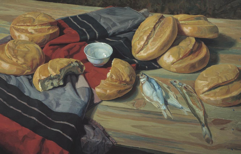 Photo wallpaper table, fish, fabric, MATORIN Victor, kisochka, seven loaves