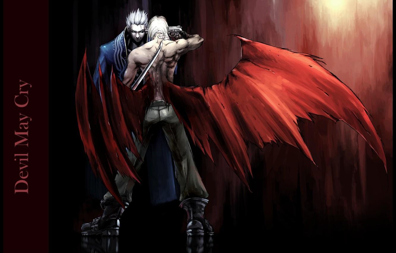 Photo wallpaper gun, katana, blade, murder, vampire, Dante, the fight, enemies, wounds, Devil May Cry, Virgil, Devil …