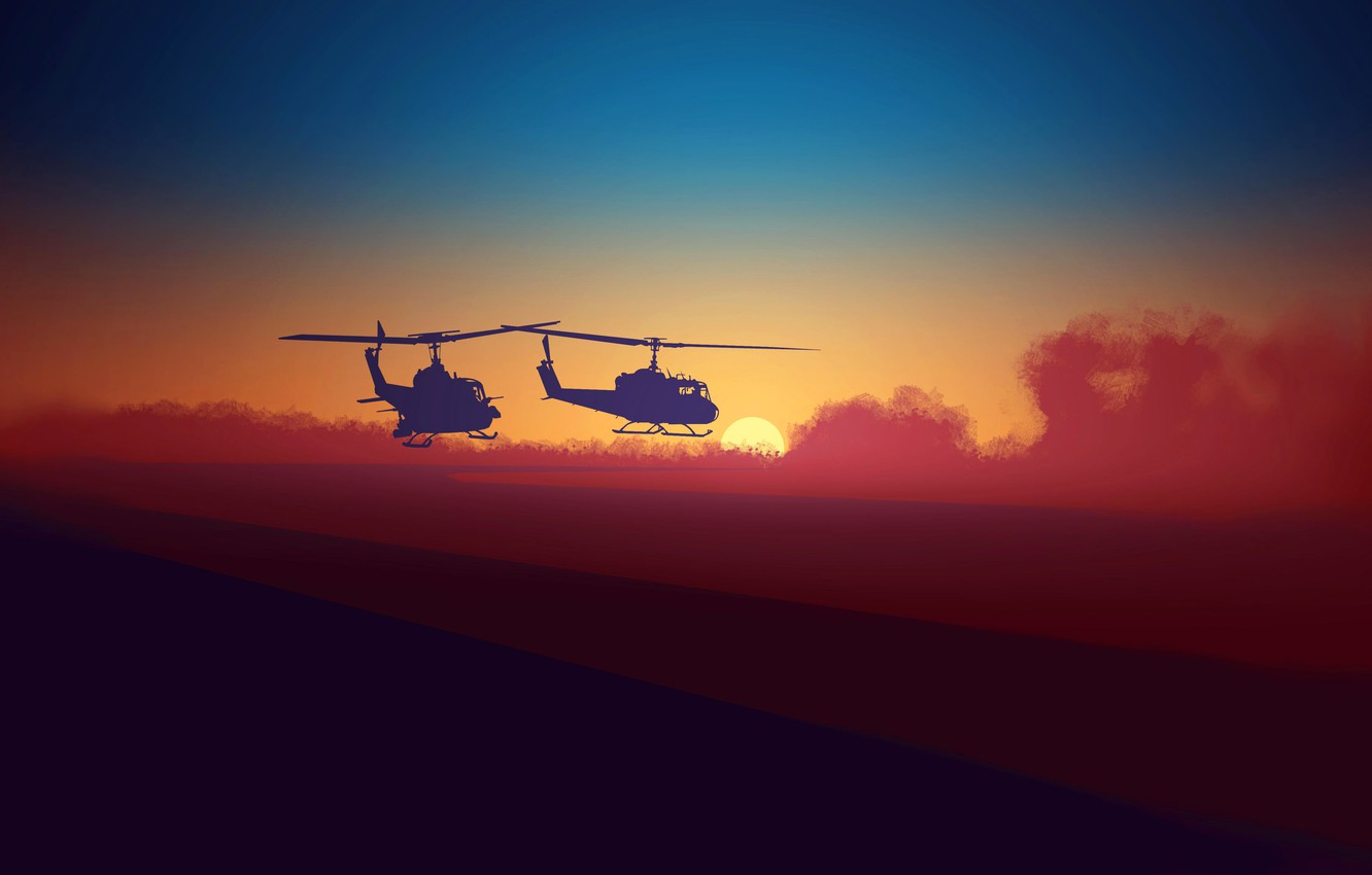 Photo wallpaper sea, the sun, clouds, sunset, shore, silhouette, pair, helicopter