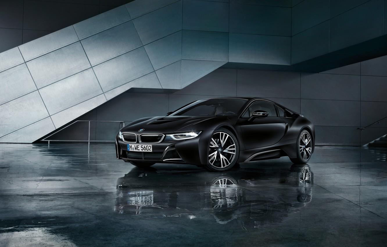 Photo wallpaper car, BMW, logo, supercar, black, technology, BMW I8