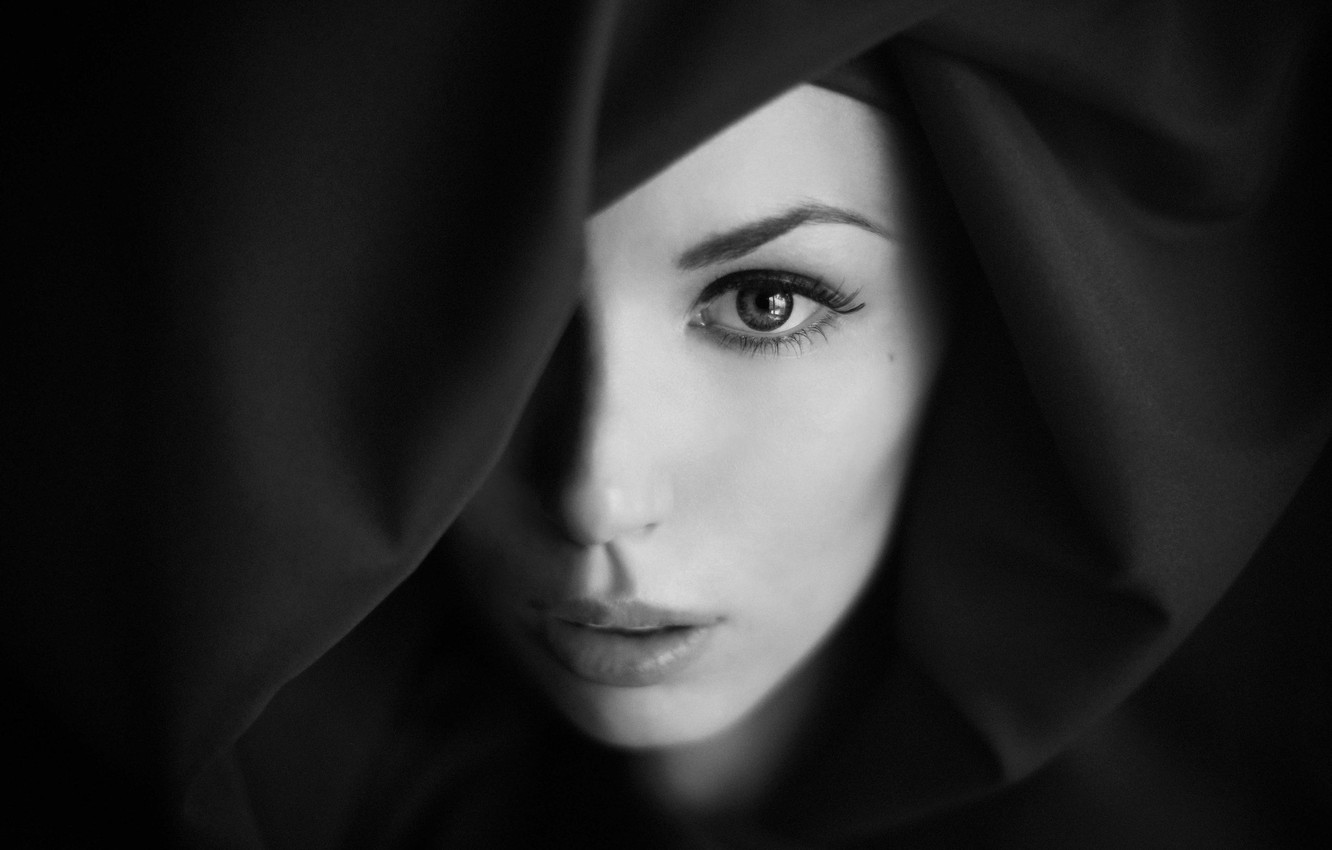 Photo wallpaper look, macro, face, portrait, eyes, h\b, the expression, lips, black and white, Maria Maltseva, covered, …