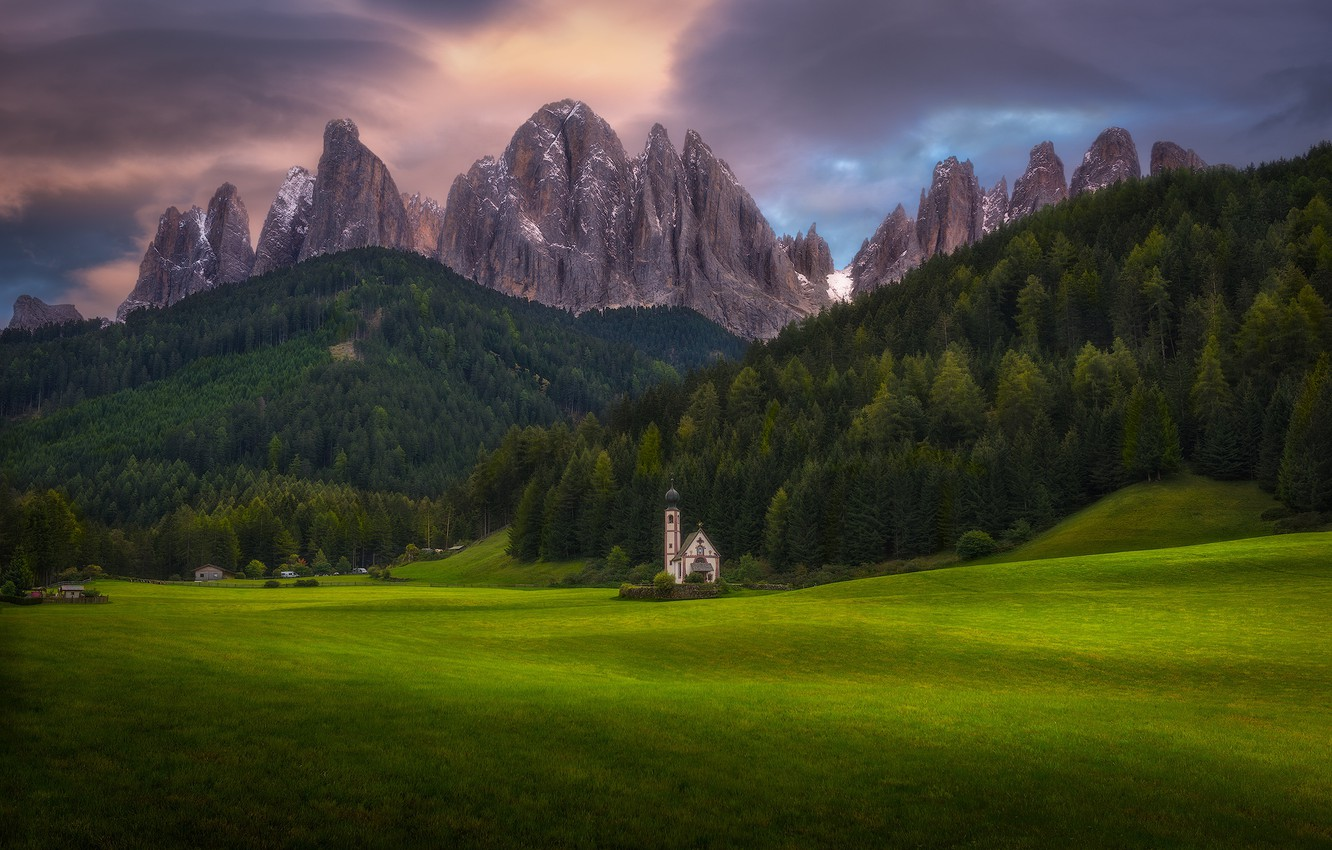 Photo wallpaper forest, mountains, Alps, Church, meadows