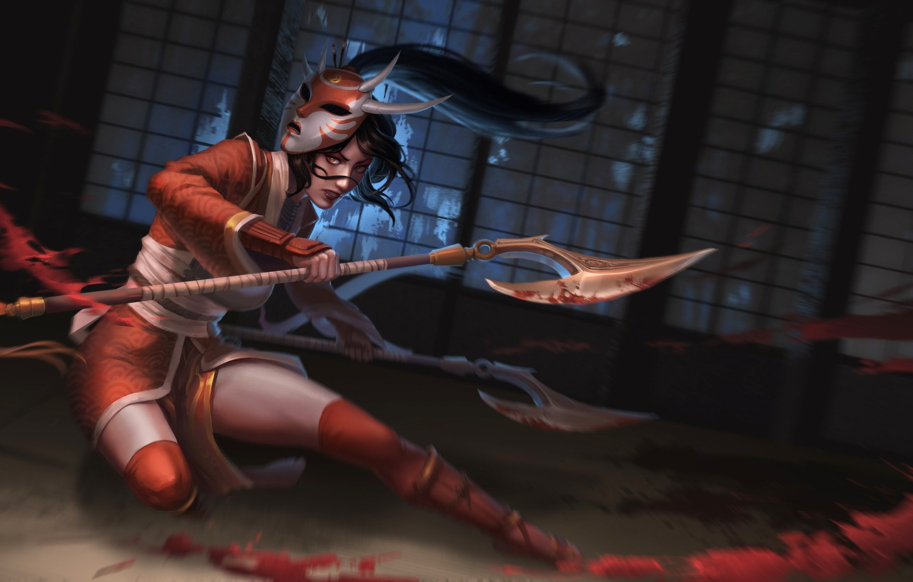 Photo wallpaper mask, axes, the fight, Akali, League of Legends, League Of Legends, blood spatter, a pool …