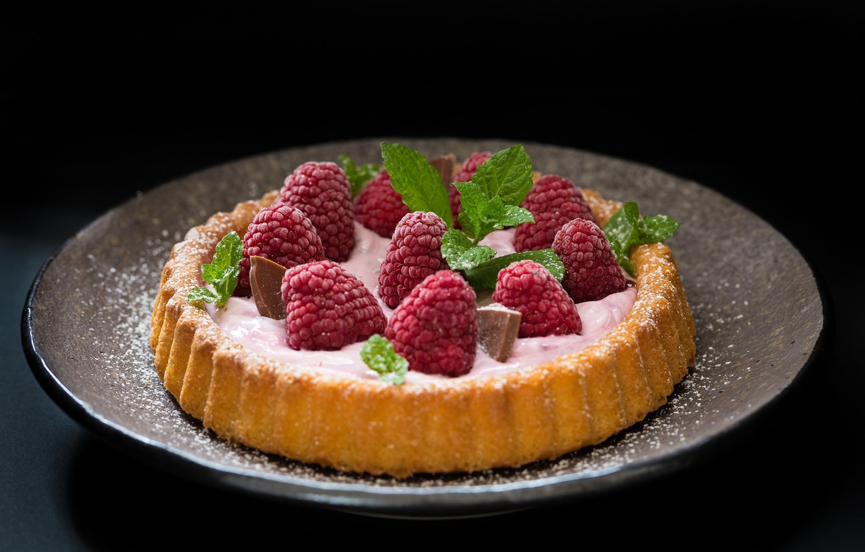 Photo wallpaper raspberry, food, chocolate, pie, mint, cream, dessert, cakes, sweet
