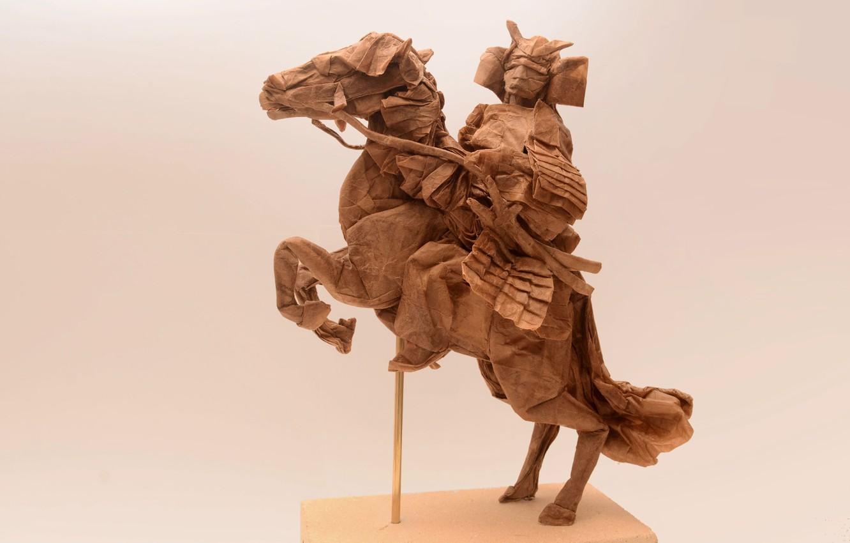 Photo wallpaper paper, samurai, rider, origami