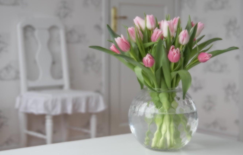 Photo wallpaper bouquet, tulips, vase