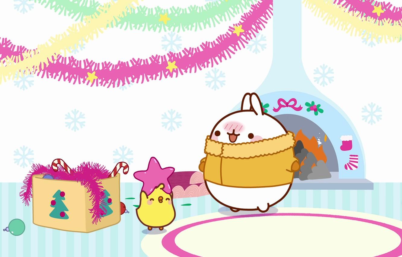 Photo wallpaper holiday, toys, anime, art, New year, fireplace, tinsel, Bunny, asterisk, children's, kodomo no hi, Malang