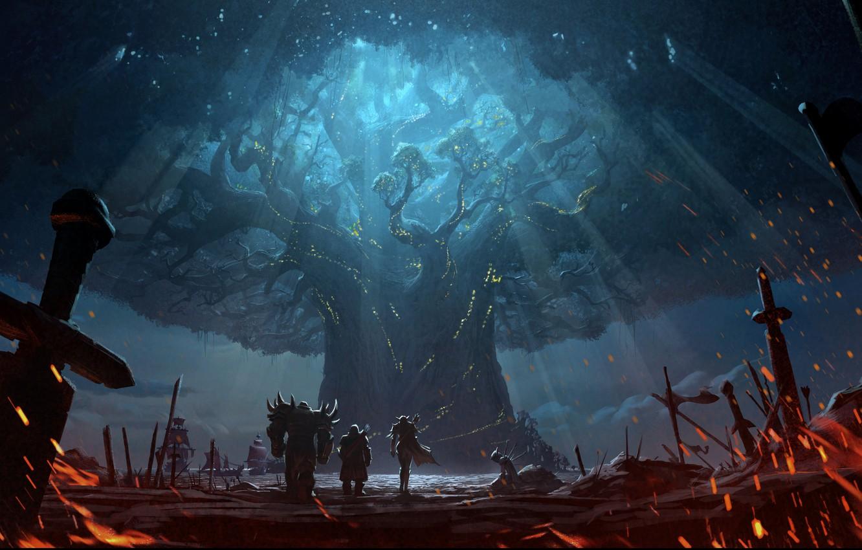 Photo wallpaper fire, battlefield, sword, World of Warcraft, fantasy, game, Warcraft, Teldrassil, trees, landscape, weapon, battle, elf, …