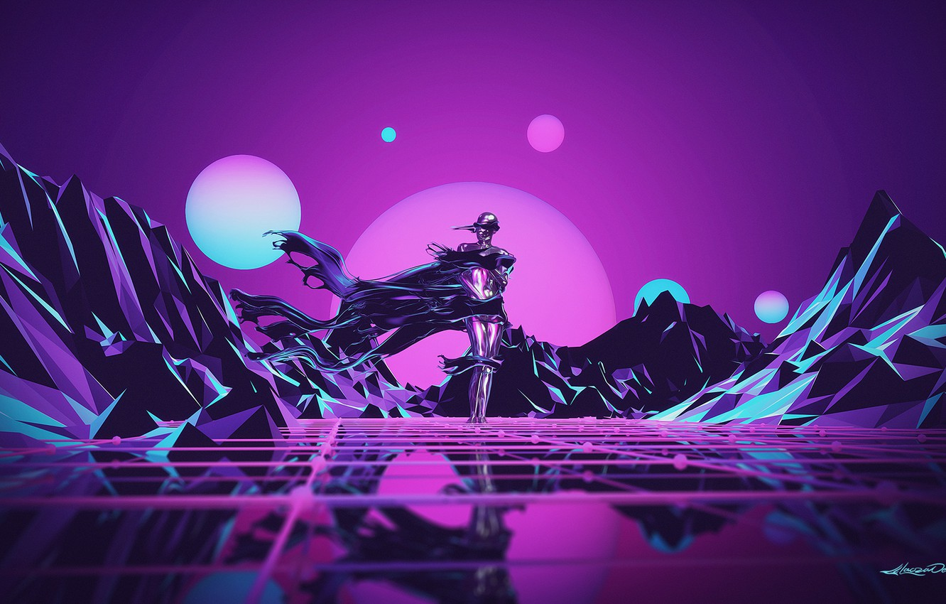 Photo wallpaper Music, Robot, Neon, People, Hills, Background, Synthpop, Darkwave, Synth, Low Poly, Retrowave, Synth-pop, Sinti, Synthwave, …