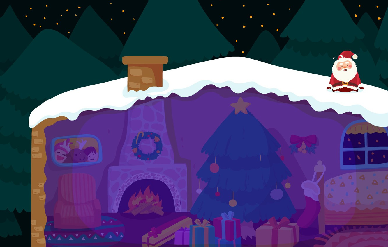 Photo wallpaper winter, roof, snow, night, holiday, vector, art, New year, house, Santa Claus