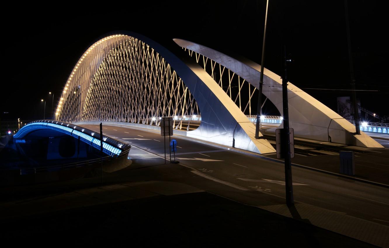 Photo wallpaper bridge, the city, lights, lighting