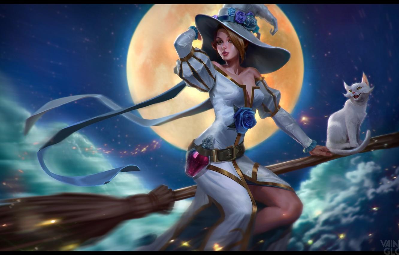 Photo wallpaper cat, night, the moon, fantasy, art, flight, witch, broom, Mushk Rizvi, Vainglory: Beawitch Celeste