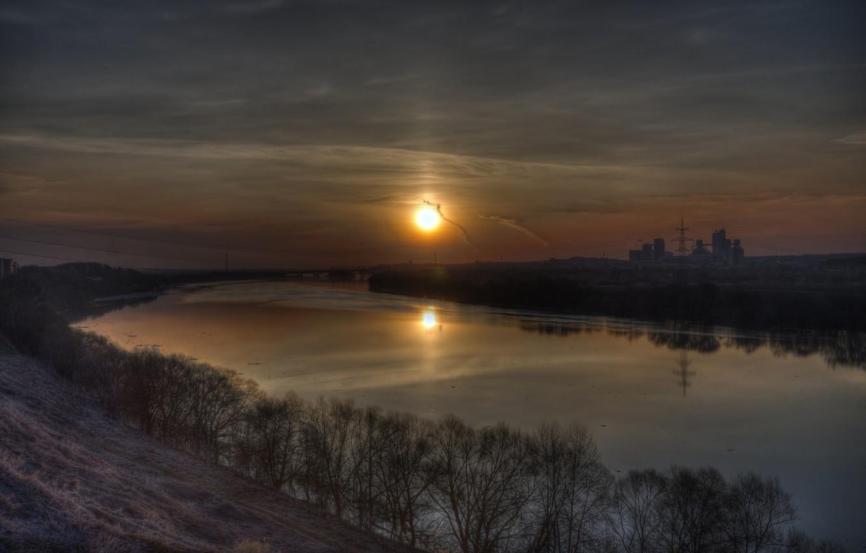 Photo wallpaper dawn, HDR, River
