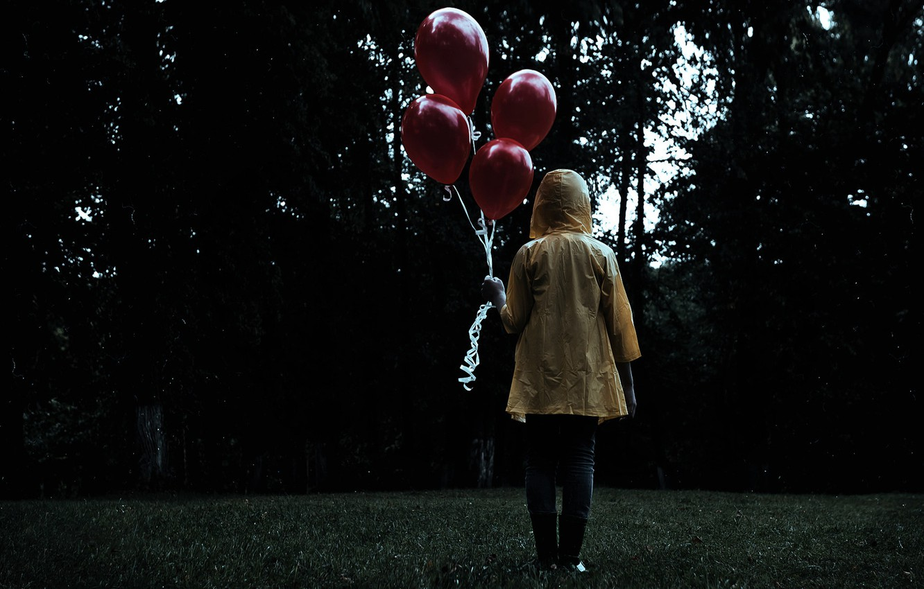 Photo wallpaper dark, grass, forest, trees, figure, mood, sadness, feeling, person, boots, waterproof, lawn, Balloons