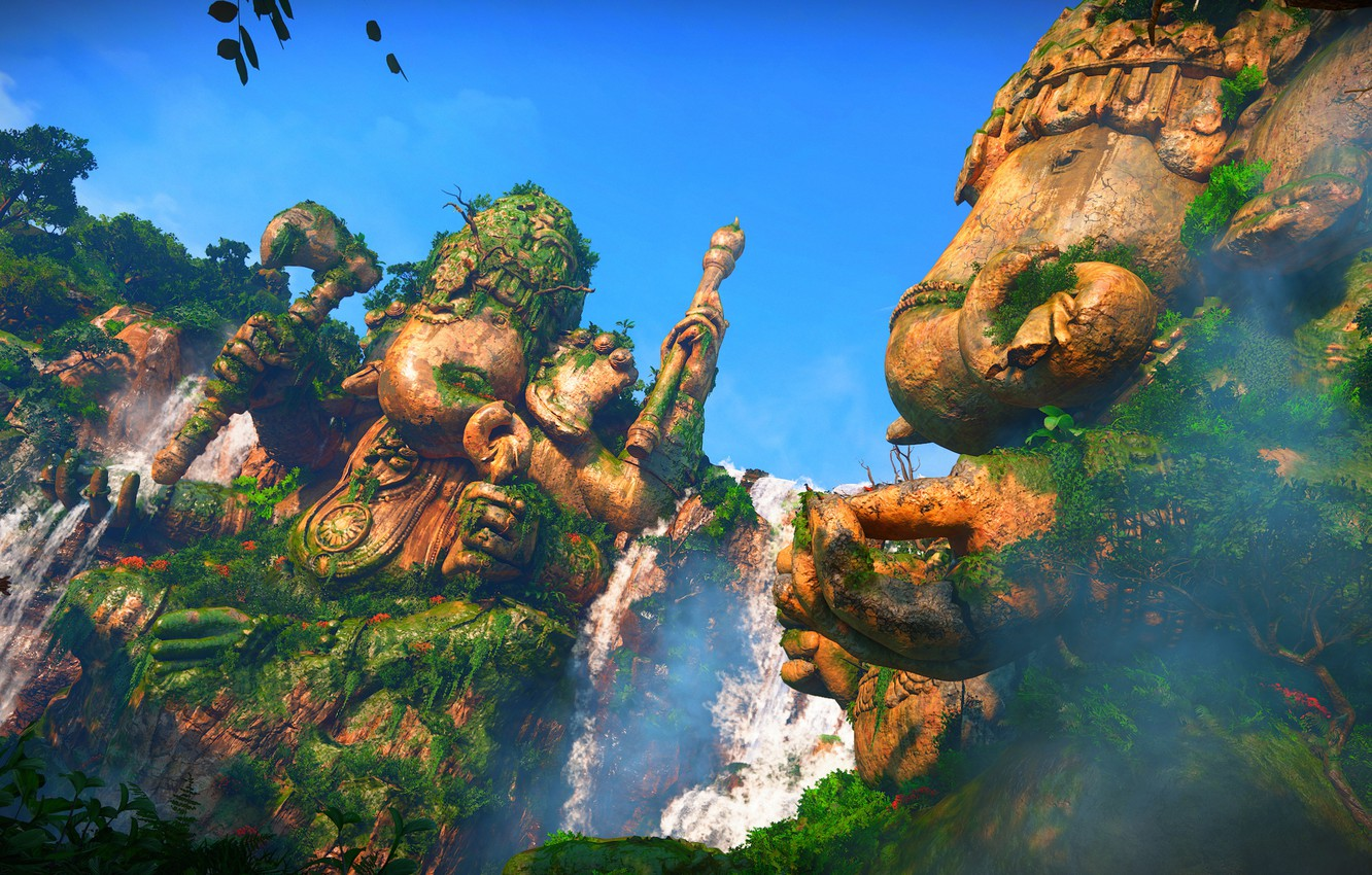 Wallpaper Waterfall Statue Uncharted The Lost Legacy Ganesha