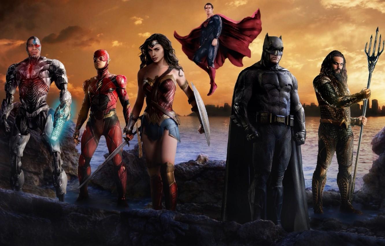 Photo wallpaper cinema, sword, Wonder Woman, Batman, movie, ken, blade, Superman, hero, film, shield, Man of Steel, ...