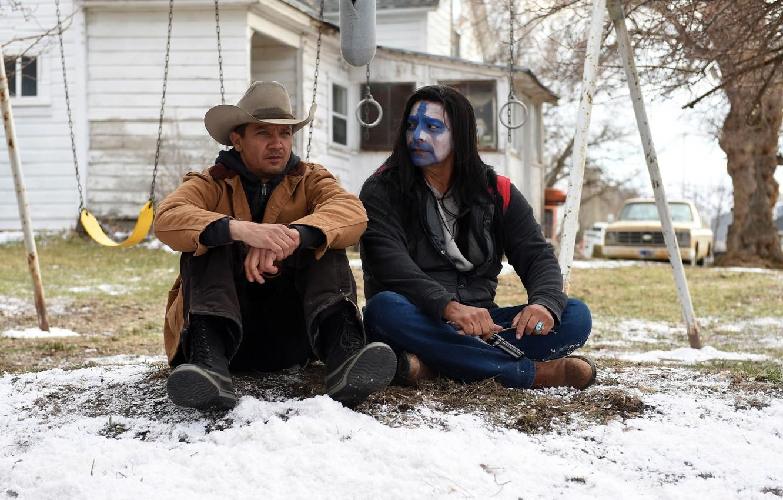 Photo wallpaper car, cinema, gun, weapon, snow, movie, film, revolver, Jeremy Renner, cowboy, Wind River