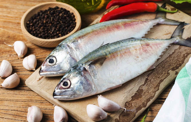 Photo wallpaper fish, spices, garlic