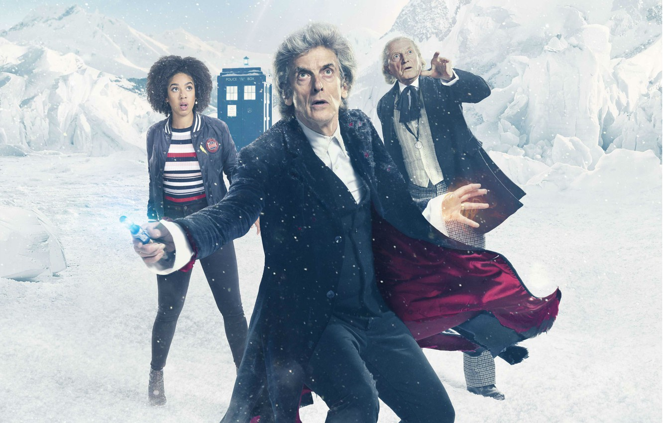 Photo wallpaper winter, snow, mountains, booth, Doctor Who, snow, Doctor Who, The TARDIS, TARDIS, Peter Capaldi, The …