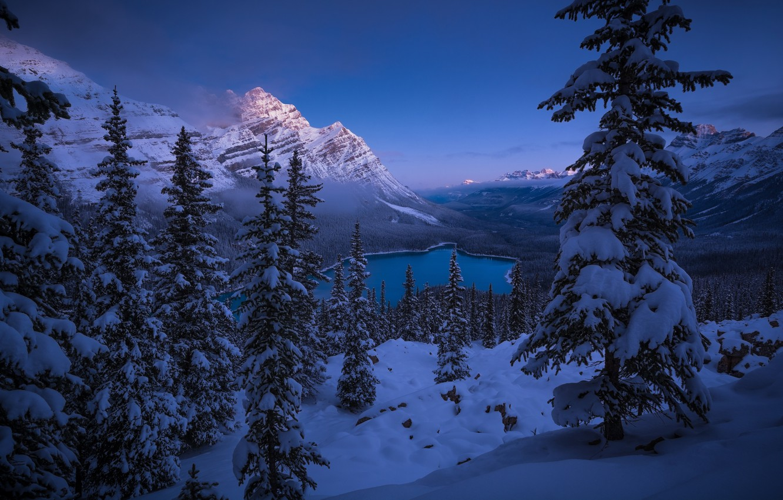 Photo wallpaper winter, snow, mountains, lake, ate, Canada, panorama, Albert, Banff National Park, Alberta, Canada, Rocky mountains, …