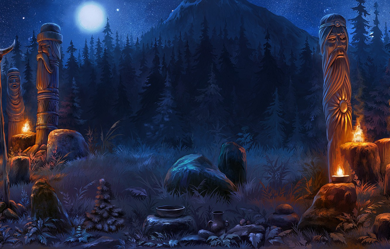 Wallpaper Forest Mountains Night Skull Pitcher Idols