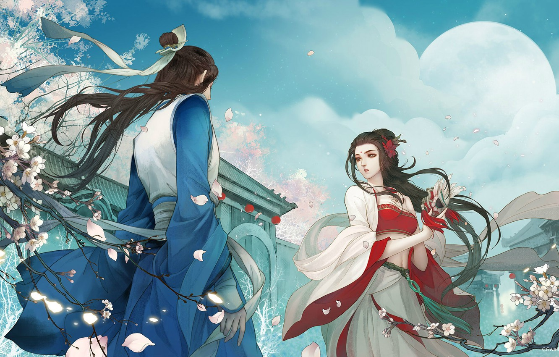 Photo wallpaper love, flowers, the situation, spring, the evening, Sakura, art, pair, fantasy, date