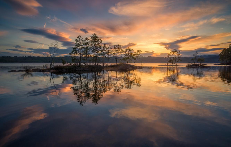 Photo wallpaper the sky, water, trees, sunset, lake, reflection, Norway, island, Norway, RINGERIKE, Ringerike