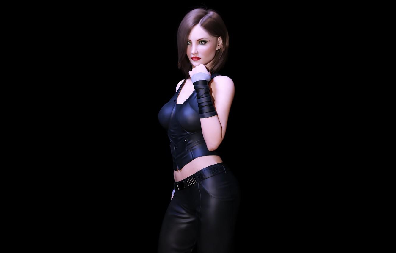 Photo wallpaper girl, brunette, black background