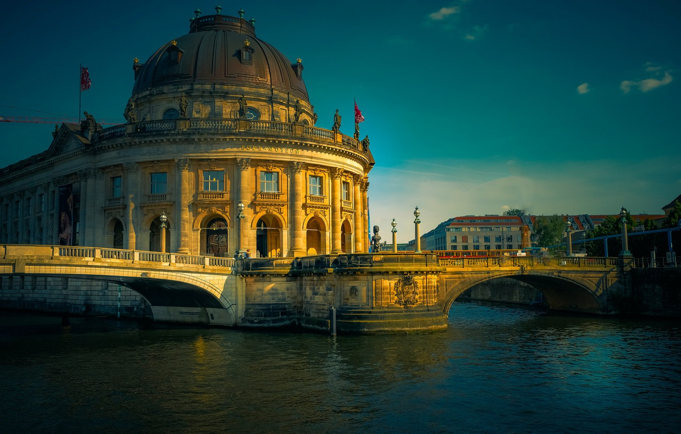 Photo wallpaper river, the building, Germany, architecture, bridges, Germany, Berlin, Berlin, The Bode Museum, the river spree, …