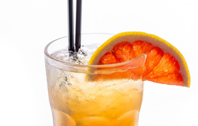 Photo wallpaper glass, ice, slice, cocktail, tube, drink, grapefruit, lemonade